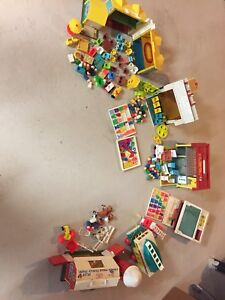 Huge lot of vintage little people fisher price sets