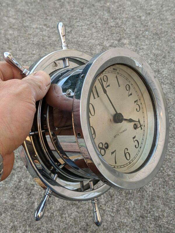 Fine Vtg Stainless Steel Seth Thomas Striking Helmsman Ship Clock w Key Working