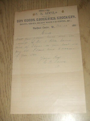 Antique 1894 Cd Lucas Dry Goods Grocery Dealer Thetford Center Vermont Letter Vt