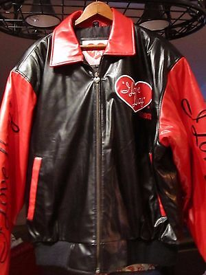 I LOVE LUCY Size XL Red & Black Leather Bomber Jacket NEW Authentic Apparel