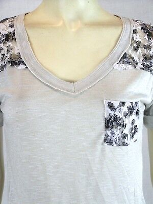 Anxiety Gray Short Sleeve Burnout Floral Lace Casual Knit Top Juniors Medium 7 9