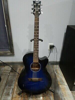 Dean Guitars 6 String Acoustic-Electric Guitar, Right Handed, Blue Burst (AX PE