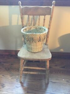 Decorative antique wooden press back chair with planter