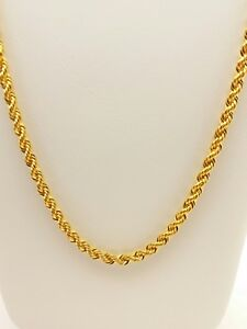 21K Yellow Gold Turkish Rope Chain / Necklace 6.15 Grams