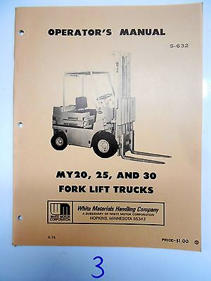 White Fork Lift Truck Operators Maintenance Manual My 20 25 30 374