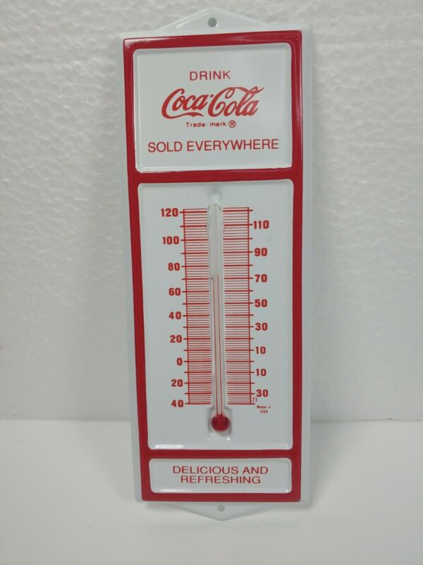 "RARE Vintage 6.5"" Coca-Cola Coke Tin White Red Advertising Thermometer"