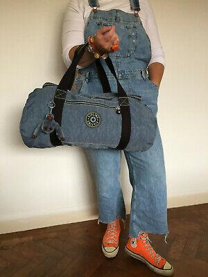 KIPLING 90S LARGE BLUE JEAN HOLDALL DUFFLE GYM WEEKEND BAG LARGE MONKEY FILIP