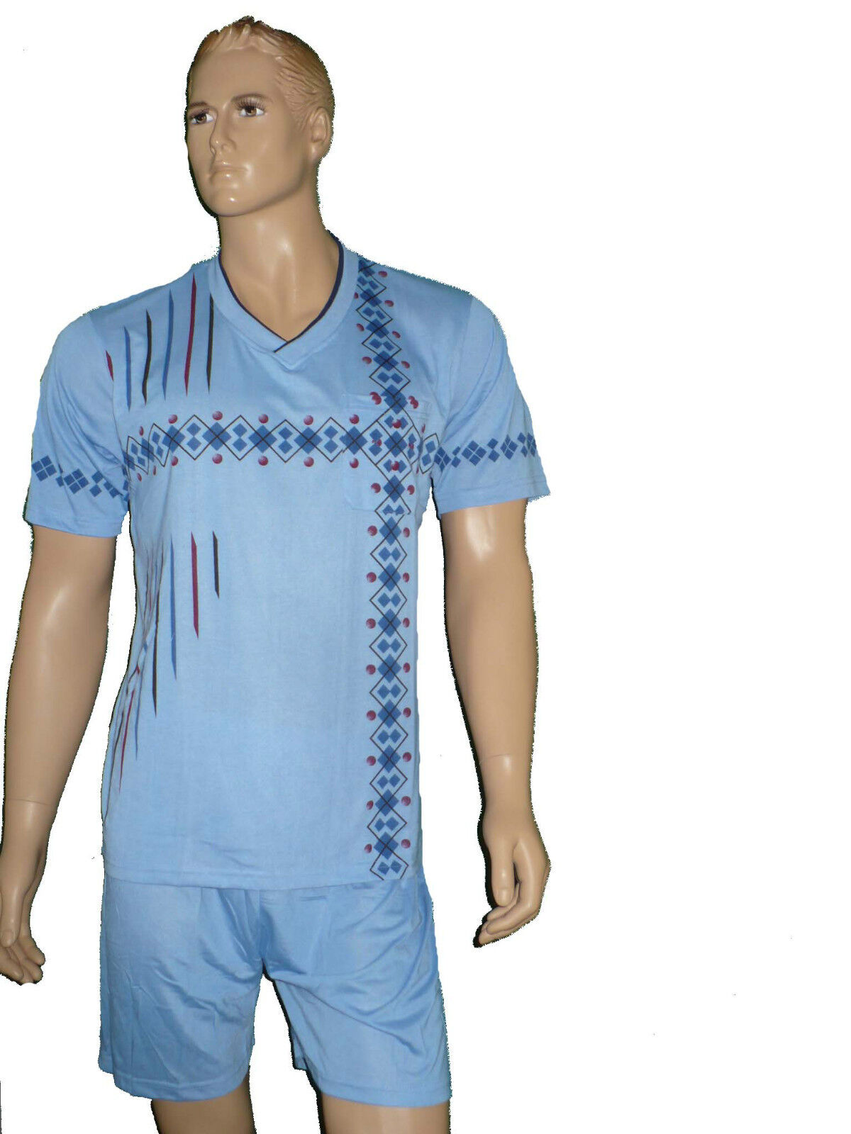 herren schlafanzug kurz pyjama shorty trendig. Black Bedroom Furniture Sets. Home Design Ideas