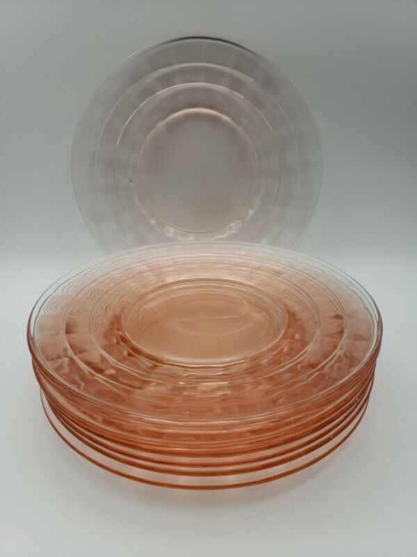 Anchor Hocking Pink Block Optic Luncheon Salad Plates*Set of EIGHT 8