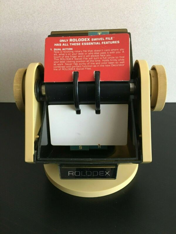 Vintage Rolodex Model SW-24C Rotary Business Card File w/Swivel Base Wood Grain
