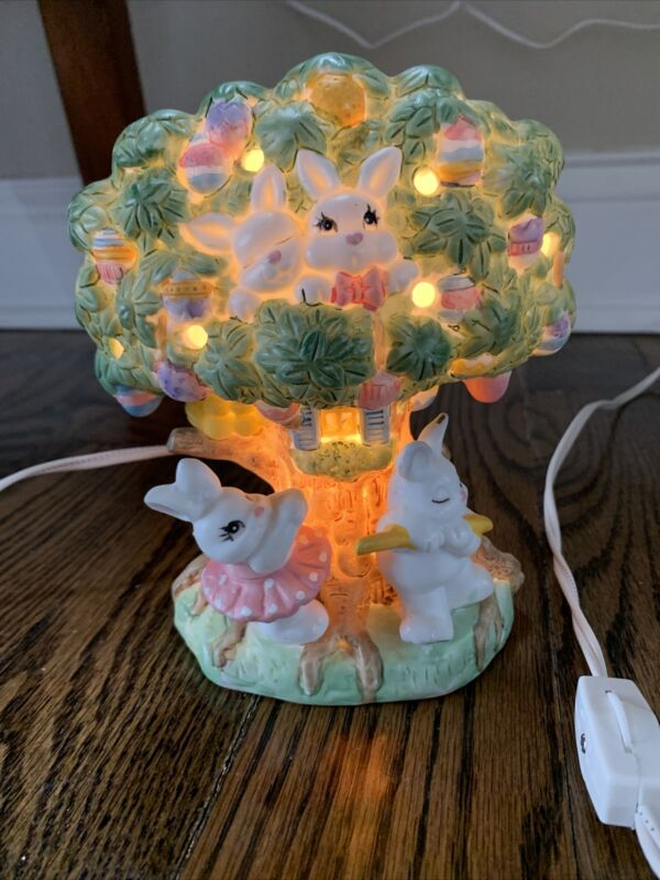 Easter Bunny Tree Night Light Hand painted Porcelain  Spring Table Decor