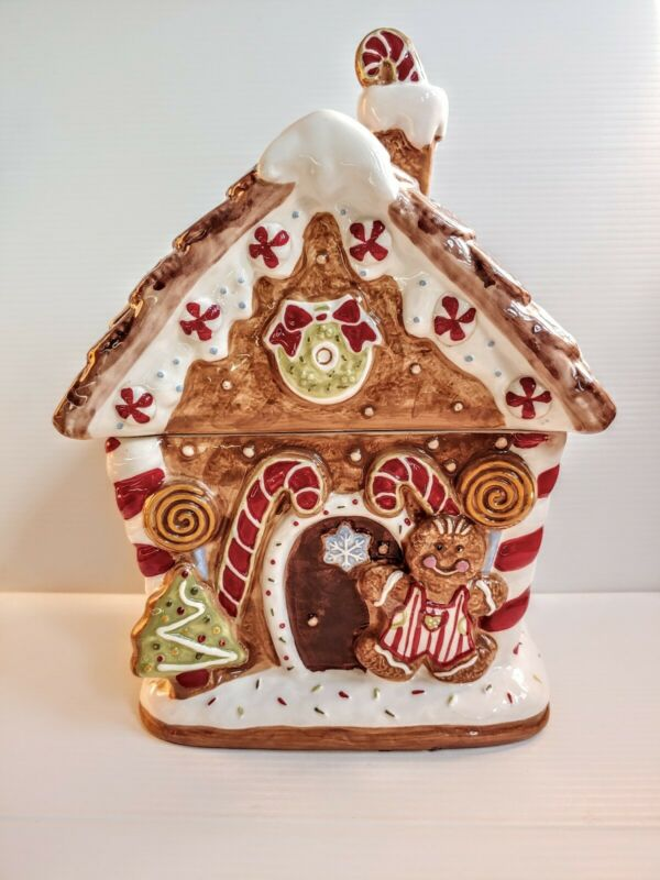 St. Nicholas Square Gingerbread House Cookie Jar Candy Canes Cookies Sprinkles