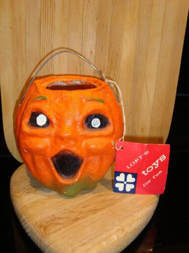 Vintage Halloween Paper Mache Pumpkin Jack-O-Lantern Lofts Candy w/TAG 1940