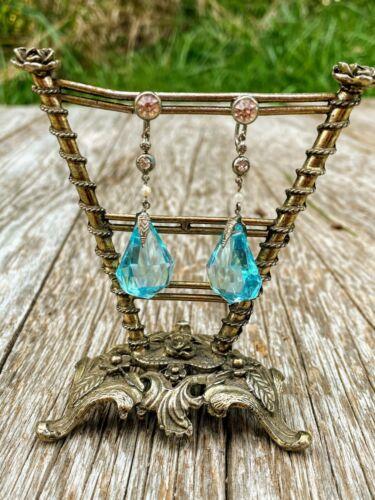 Art Deco Czech Blue Glass Dangle Earrings