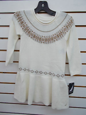 Girls Nautica $38.50 Cream w/ Metallic Design Sweater Dress Size 4 - 6X