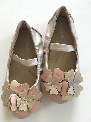 Cat & Jack Shimmery Pale Pink Floral Ballet Flats Shoes Toddler Infant Size 7