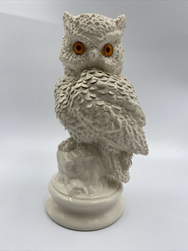 "Vintage Hand Made Signed Ceramic Owl 12"" Sculpture Highly Detailed"