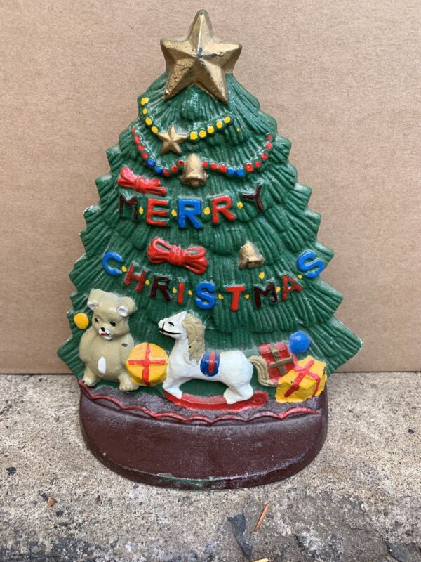 VTG CAST IRON  CHRISTMAS TREE PAINTED DOOR STOPPER P51