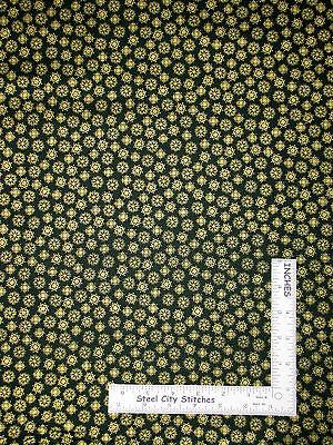 Christmas Fabric   Gold Gild Snowflakes Toss Dark Green  1505 G9 Makower   Yard