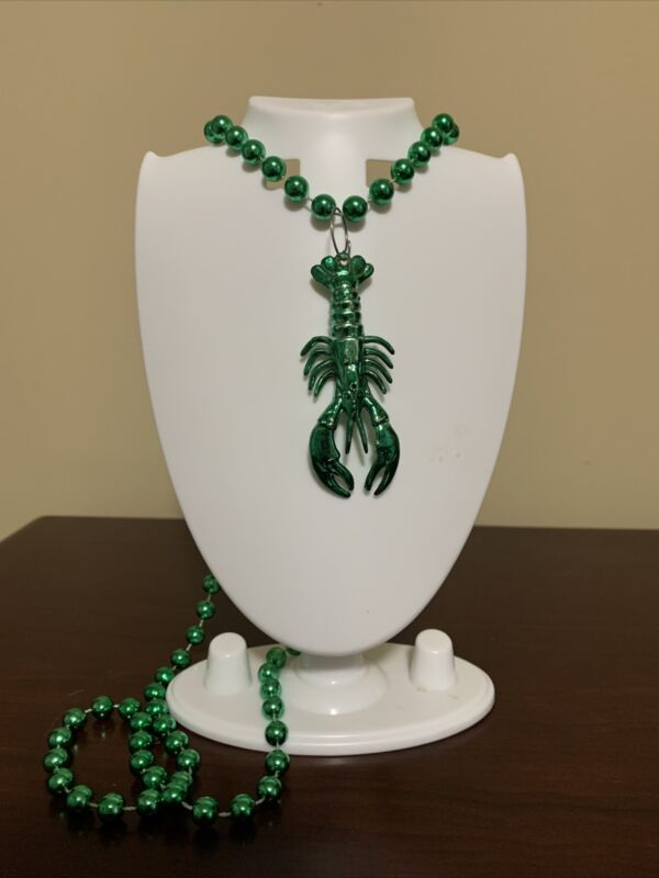 Green Crayfish Bead Necklace St. Patrick Day Mardi Gras Party New Orlean