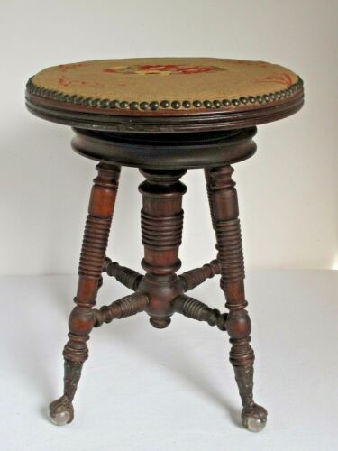 Antique Holtzman & Sons Piano Adjustable Stool Glass Claw Feet