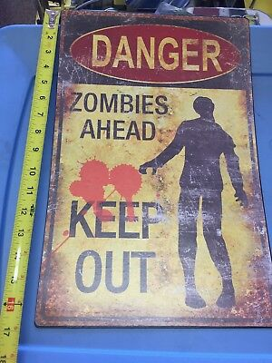 The Walking Dead - warning Zombie - metal sign - LARGE - NEW Halloween