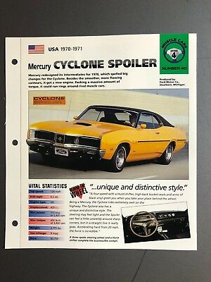 "1970 - 1971 Mercury Cyclone Spoiler IMP ""Hot Cars"" Spec Sheet Folder Brochure"