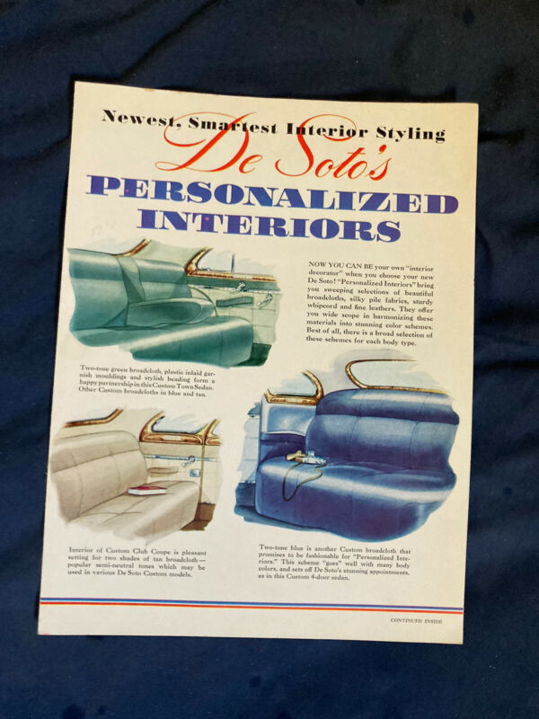 1942 DeSOTO CUSTOM AND DeLUXE FULL LINE  INTERIORS COLOR BROCHURE PROSPEKT