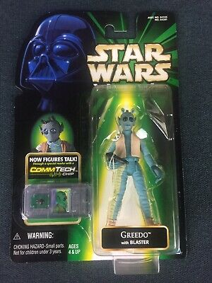 Star Wars The Power of The Force 2 POTF2 Greedo Figure w/ Commtech Chip 1998