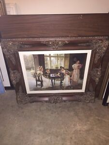 One of a kind antique frame and picture