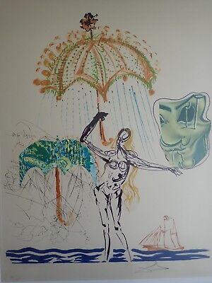 Salvador Dali Anti-Umbrella w/ Atomized Liquid Litho & Collage Hand signed