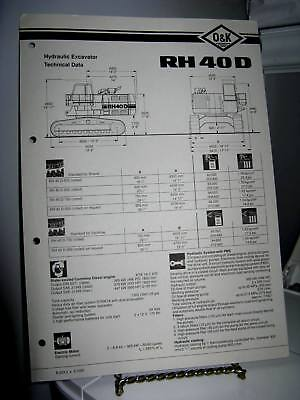 Ok Rh40d Hydraulic Excavator 6-page Technical Data Fold-out Brochure - Vg