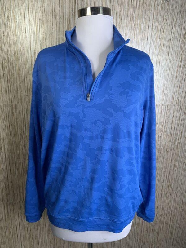 Peter Millar Crown Sport Perth Blue Camo Quarter Zip Pullover  $125 Medium