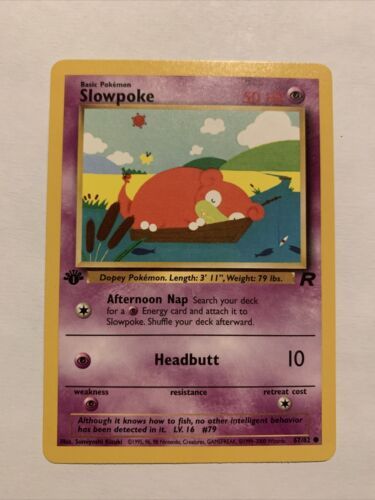 1st Edition Slowpoke PSA 10 Mint Team Rocket Pack Fresh Pok mon Card 67 - $0.99