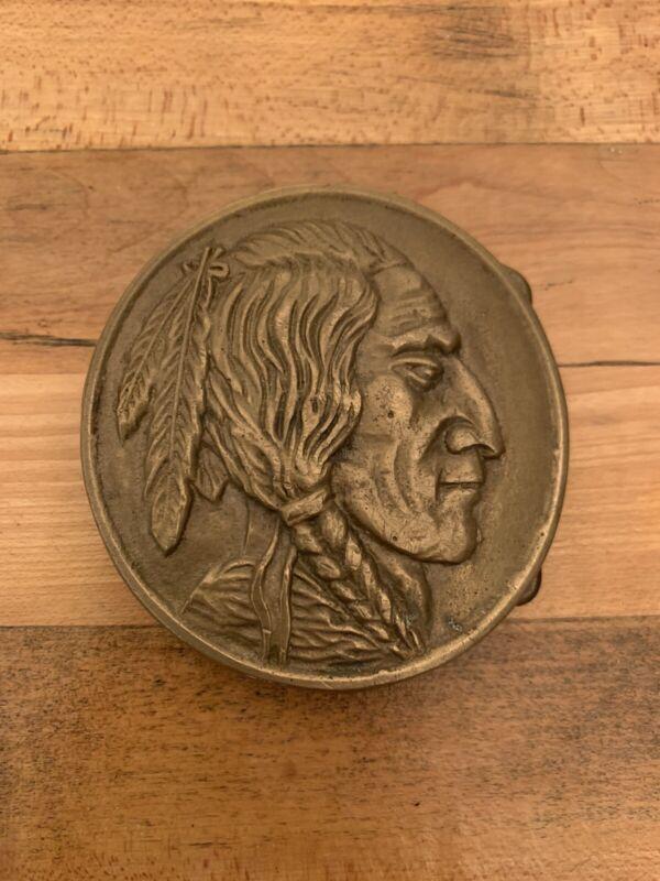 Vintage Boy Scout Belt Buckle - Indian Head - Solid Brass