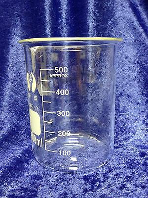 Beaker Borosilicate Glass Low Form 500ml Graduated