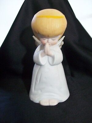 Vintage Ceramic Praying Angel with a Halo Music Box Plays