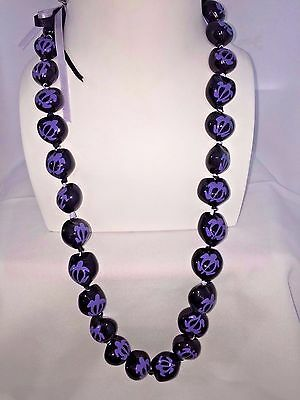 Hawaii Wedding Kukui Nut Lei Necklace ~ BLACK W/ PURPLE HONU TURTLE ( QTY 2 )