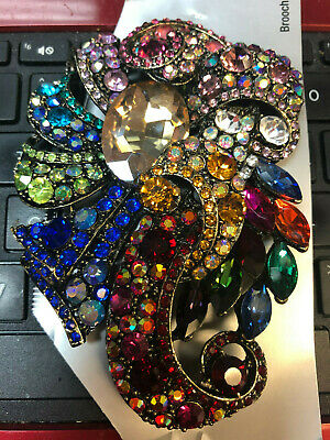 Vintage Jewelry High End Large Flower BROOCH PIN Rhinestone Diamond Ruby emerald ()
