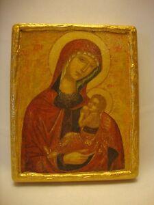 Virgin Mary Jesus Rare Greek Orthodox Religious Christianity Icon Art