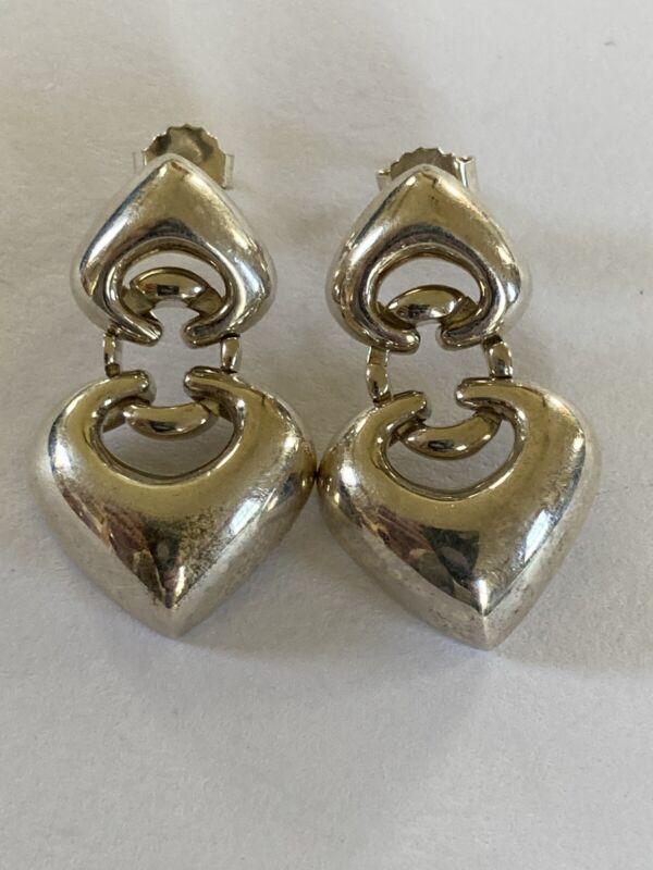 Vintage Sterling Earrings Hearts Door Knockers ESPO