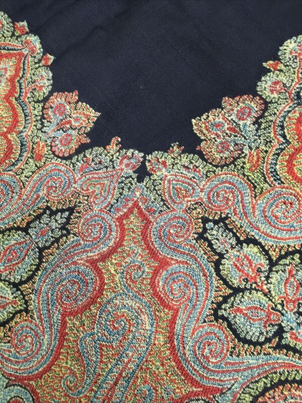 "Large Antique Hand Made Paisley Shawl 1890's 64"" Square"