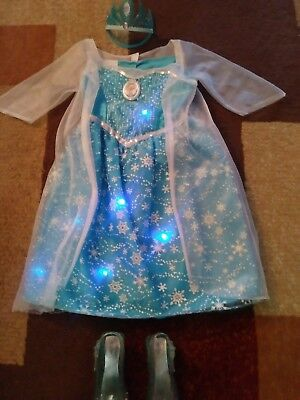 Disney Frozen Elsa Dress Costume With Lights And Music Ages 4-6x, Shoes & Tiara (Elsa Costume Shoes)