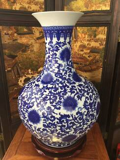 54CM Reproduced Chinese Antique Blue-and-white Vase Hand-painted