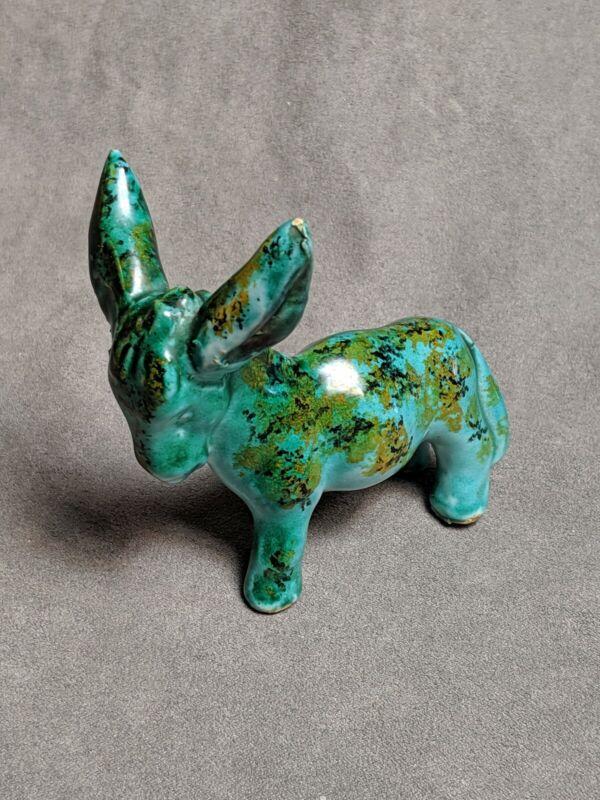 Vintage Majolica Green Donkey Burro Italy Ceramic Pottery Figure Figurine