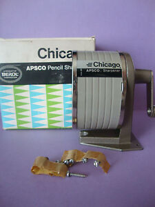 Vintage Standard Berol Chicago APSCO Wall Mount Handcrank Pencil Sharpner in Box