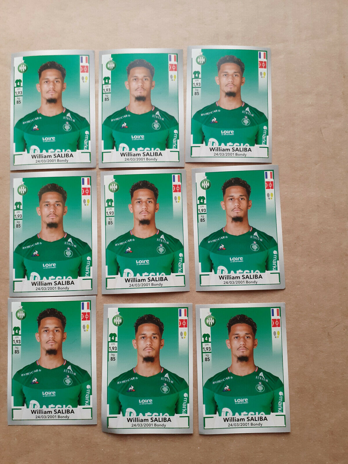 Invest lot of 9 william saliba rookie 442 sticker asse panini foot 2019-20
