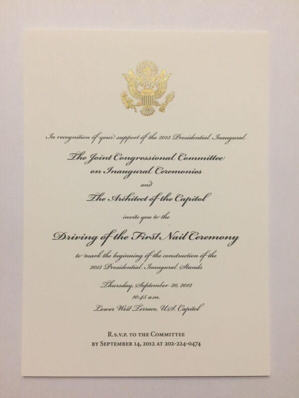 2012 President Barack Obama Inauguration Driving First Nail Ceremony Invitation
