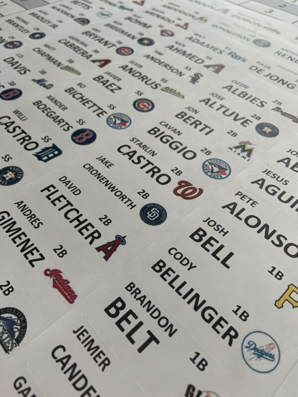2021 Fantasy Baseball Draft Board & Labels