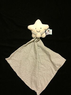 Jellycat Little Star Soother Security Blanket Comforter Stripe White Cream Gray